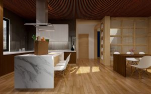 Kitchen render with marble coutertops